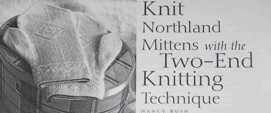 Most of the Twined, Two-strand or Two End knitting described is done in stocking stitch. In Twined knitting they sometimes do purl stitches or a whole row of purl which creates a decorative effect. In the Two-strand knitting Stanley suggests 'Moving one yarn to the right side whilst working with the other' which 'creates a horizontal bar' which can be used to form patterns. The small sections of these patterns can look like some of the circles in Woven Garter but are very different because there are no purl rows just many circles and bars.